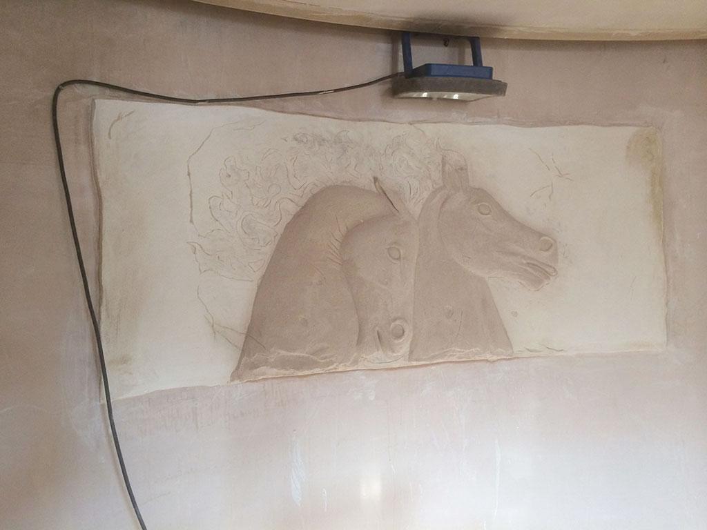 Newmarket hotel horse plasterwork